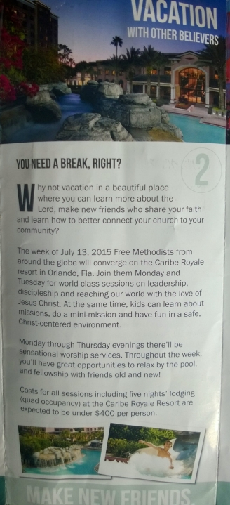 The vacation pitch for General Conference 2015 in  the advertising brochure for General Conference.