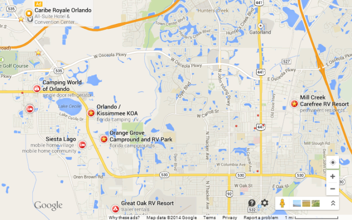 Numerous camping options very close to the resort. This is what simple living at its best! (Google Maps)